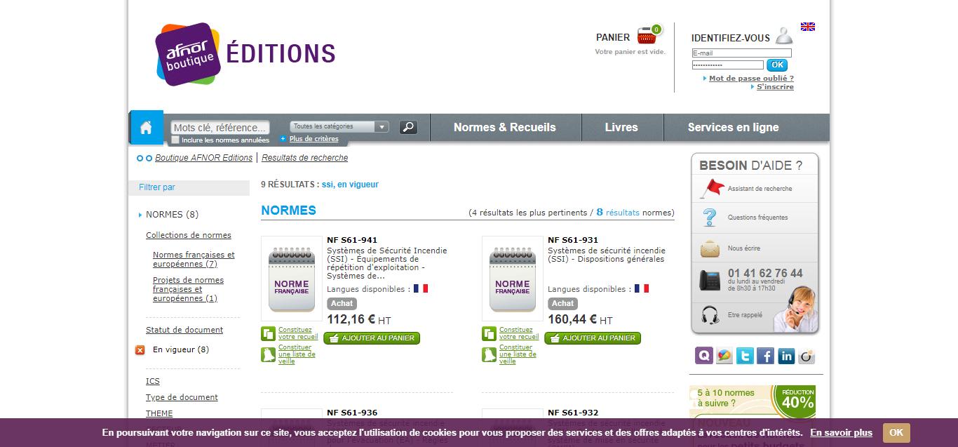AFNOR, site de téléchargement des normes